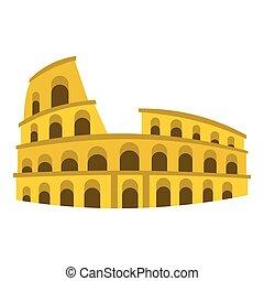 Coliseum icon, flat style - Coliseum icon. Flat illustration...