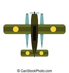 Military biplane icon, flat style - Military biplane icon....
