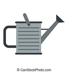 Garden watering can icon, flat style - Garden watering can...
