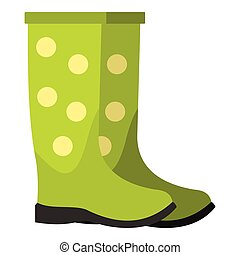 Rubber boots icon, flat style - Rubber boots icon. Flat...