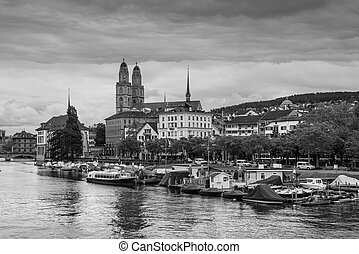 Zurich city center with Grossmunster Church and Limmat rive,...