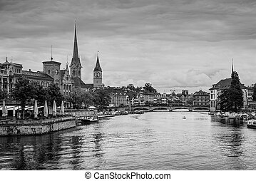 Zurich city center with Fraumunster Church and Limmat rive,...