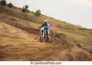 Moto cross - MX girl biker at race in Russia