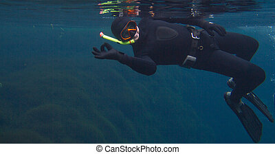 Underwater portrait of a man showing ok , freediving, lake