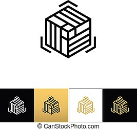 Block or cube 3D structure vector icon