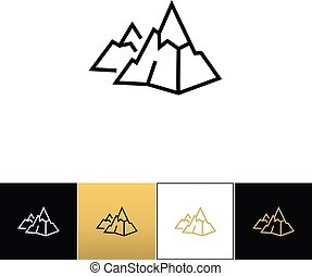 Rock logo or mountain stone linear vector icon. Rock logo or...