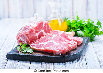 raw meat with aroma spice on a table