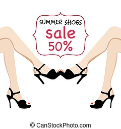 illustration of woman legs in black fashion shoes sale banner.