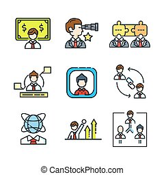 businessman icon set color