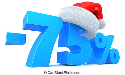 Christmas sale - 3d illustration of 75 percent Chistmas sale...