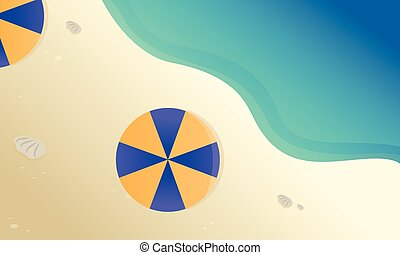 Landscape beach with umbrella vector flat illustration