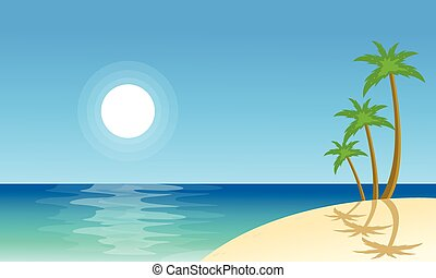 Collection stock beach scenery vector flat illustration