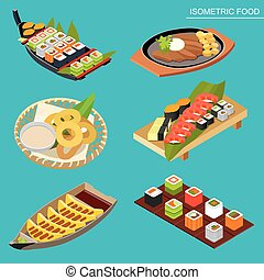 Isometric Flat Japanese seafood set. Sushi, maki rolls and other.