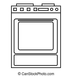 Gas stove icon, outline style - Gas stove icon. Outline...