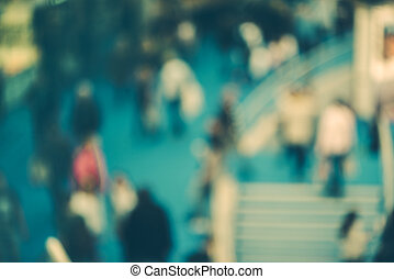 Abstract blurred people in exhibition hall event - Abstract...