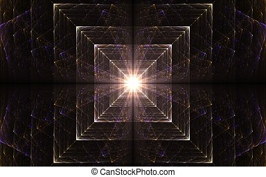 light in the end of a tunnel - abstract illustration fractal...