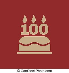 The birthday cake with candles in the form of number 100...