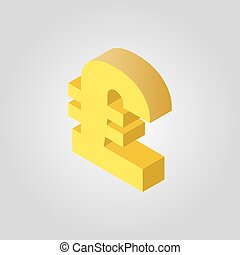 The pound sterling icon. Cash and money, wealth, payment, GBP symbol.3D isometric. Flat Vector