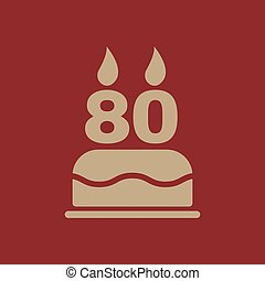 The birthday cake with candles in the form of number 80...