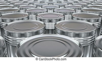 Food cans 3D animation - 3D animated looping pan along the...