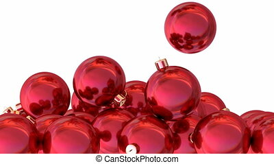 Red Christmas balls 3D animation