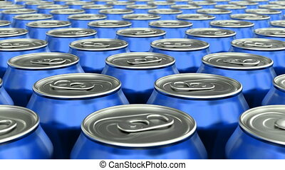 Looping pan over the blue glossy soda cans