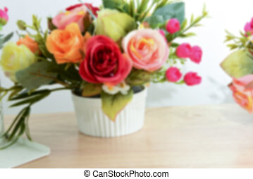 Blurry Flowers bouquet background with copy space - Blurry...