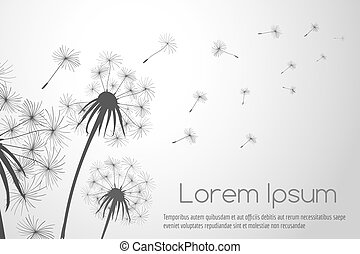 Wind blowing dandelions seeds for cards decor vector...