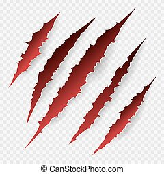 Scratches isolated on transparent background. Vector scratch...