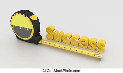 Measure success concept with tape on white