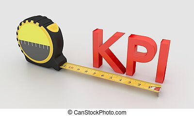 Measure KPI concept with tape and 3D text - Tape placed next...