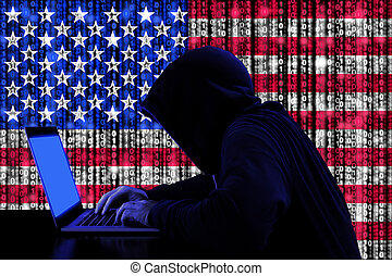 Hacker from the united states at work cybersecurity concept