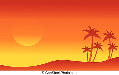Seaside with palm silhouettes collection vector illustration