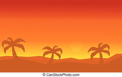 Silhouette of palm on dessert scenery vector illustration
