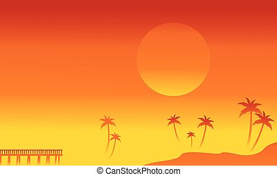 Silhouette of palm and pier vetcor illustration