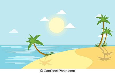 Beach scenery with sun vector flat illustration