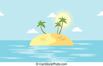 Island scenery with palm cartoon vector illustration