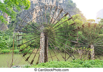 bamboo waterwheel is rotating