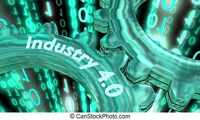Industry 4.0 concept illustration with two gears - Two...