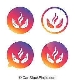Energy hands sign icon. Power from hands symbol. Gradient...