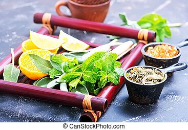herbal tea with fresh mint on the bamboo tray