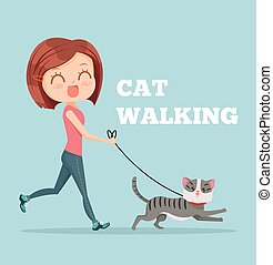 Cartoon woman running with her cat. Cat walking. Vector flat...