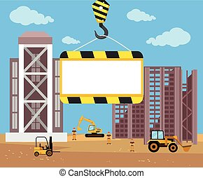 Construction and building banner. Vector flat cartoon...