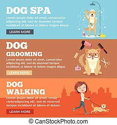 Dog grooming. Dog service. Vector flat cartoon illustration banners set