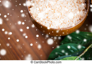 close up of himalayan pink salt in wooden bowl - beauty,...
