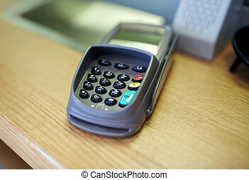 payment terminal or bank card reader - finance, technology,...