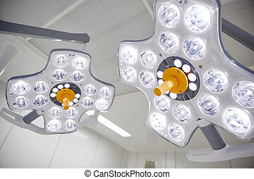 surgical lamps in operation room at hospital