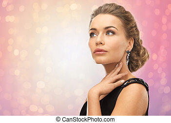 beautiful woman with diamond earrings - beauty, jewelry,...