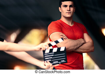 Fitness Male Model Ready For a Shoot - Young actor preparing...