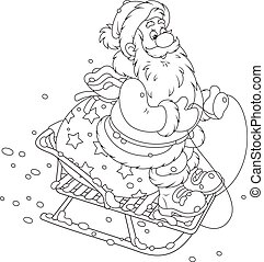 Santa sledding with gifts - Santa Claus with his bag of...